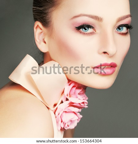 Fashion girl portrait.Accessorys.On grey  background - stock photo