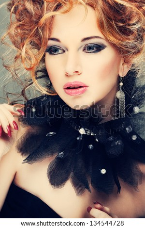 Fashion girl portrait.Accessorys.Red hairs. - stock photo