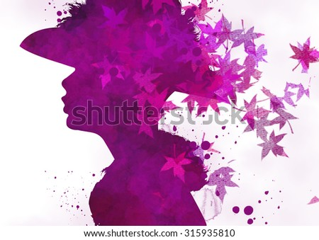 Fashion woman's face. Autumn illustration - stock photo