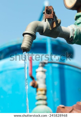 Faucet control water flow by Open and close function by user.  - stock photo