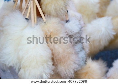 Feather duster, background of many white feather duster for clean house, house cleaning tool equipment