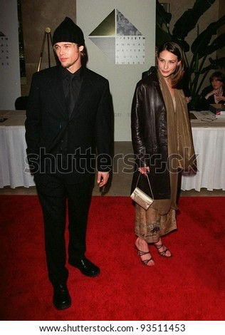 "21FEB98:  Actor BRAD PITT with actress CLAIRE FORLANI, who stars with him in his new movie ""Meet Joe Black,"" at the 50th Annual Writers Guild Awards in Beverly Hills."