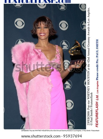 23FEB2000: Pop star WHITNEY HOUSTON at the 42nd Annual Grammy Awards in Los Angeles.  Paul Smith / Featureflash - stock photo