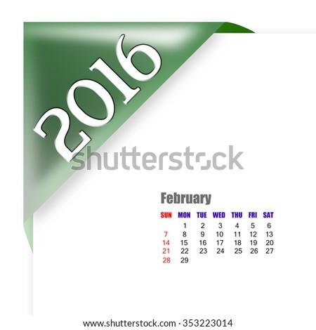 2016 February calendar - stock photo
