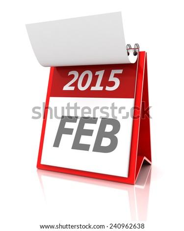 2015 February calendar, 3d render - stock photo