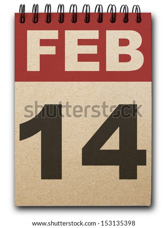 14  February calendar on recycle paper - stock photo