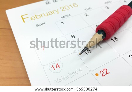 2016 February .Calendar page with marked date of 14th of February  - stock photo