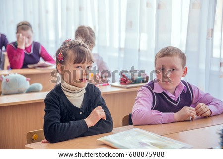 18 february 2015, Russia, Nizhny Tagil. Children, Students in the classroom at school