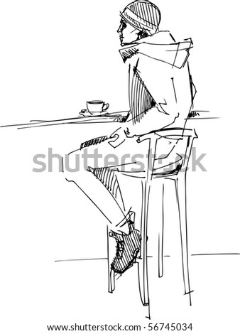 fellow on a stool - stock photo