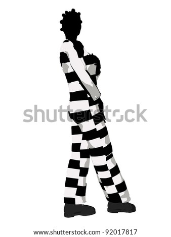 female criminal on a white background