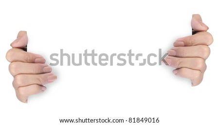 female hand holding paper isolated on white background 2