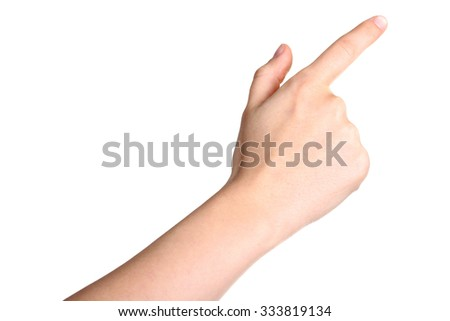 female hand touching or pointing to something isolated on white