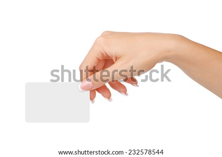 Female hand with a blank card isolated on white background        - stock photo