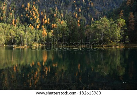 """Fernsteinsee"" Moutain Lake in Tyrol, Germany in autumn"