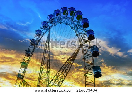 ferris wheel in sunset