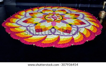 Festivals of Kerala: Onam. Floral arrangement (athappookkalam), an integral part of Onam celebration in Kerala. A floral carpet in Thiruvananthapuram