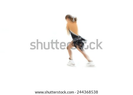 figure skater on a white background - stock photo