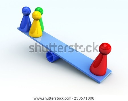 figures on the scales - stock photo