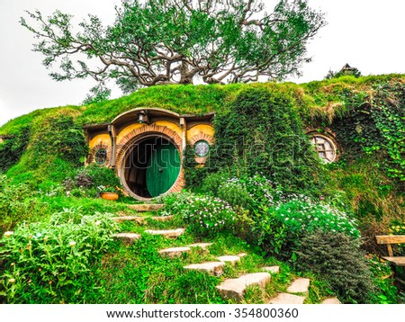 film HOBBIT and LORD OF THE RINGS  Movie Set at New Zealand ,5 July 2015 - stock photo