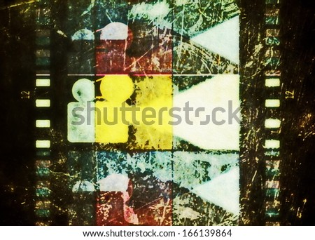 film strip and movie projector background, texture - stock photo