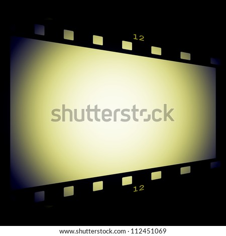 film strip frame isolated on black background