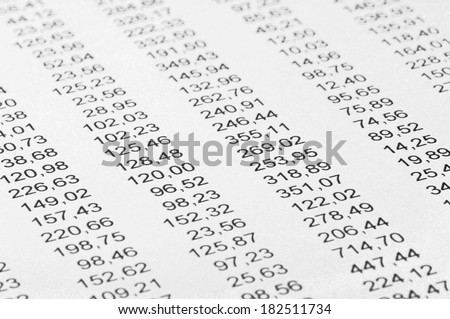 Financial calculations, rows of random numbers.