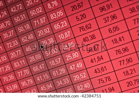 Financial data- stock exchange - red screen symbolizes losses - stock photo