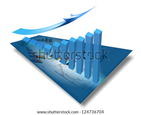 financial growth stocks up glass blue dart arrow graph - stock photo