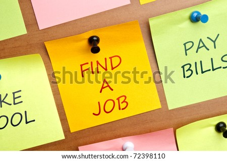 """Find a Job"" post it in middle of other post it - stock photo"