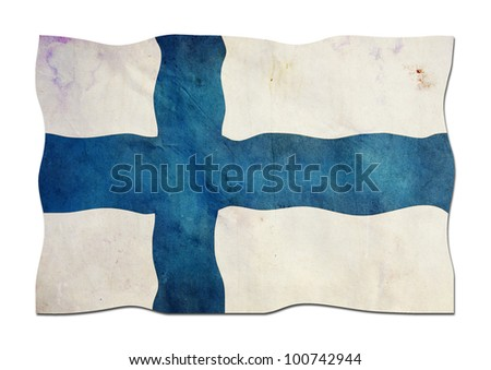Finnish Flag made of Paper - stock photo