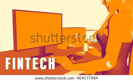Fintech Concept Course with Woman Looking at Computer 3D Illustration Render