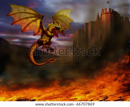 fire-breathing dragon flying around the castle, and around on the ground is burning all - stock photo