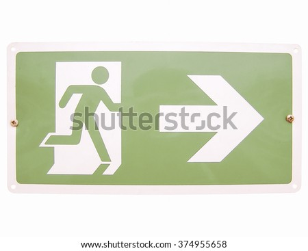 Fire exit sign isolated over white background vintage - stock photo