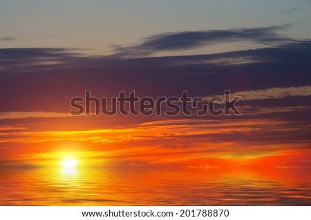 """Fire in the sky."" Blood-red clouds and sunset. natural composition - stock photo"