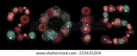 2015 Fireworks collage in a black background