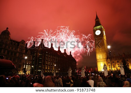 2012, Fireworks over Big Ben at midnight - stock photo