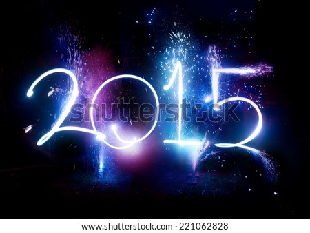 2015 Fireworks party -  Happy New Year Display celebrations! - stock photo