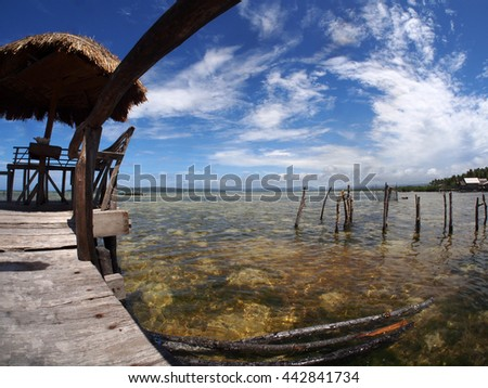 Fish eye view from a fishing village in the Moluccas islands, Indonesia - stock photo