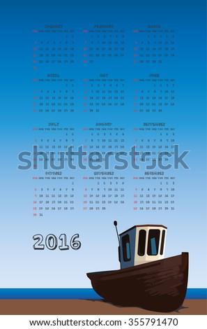 2016 fisherman boat calendar - stock photo