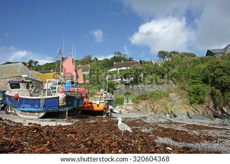 Fishing boats moored on the beach at Cadgwith Cove in Cornwall, UK - stock photo