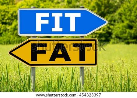 FIT - FAT lifestyle change concept . Abstract yellow and blue road arrow highway directions signs on green field background