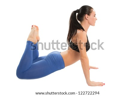 fitness woman make stretch on yoga and pilates pose on white background  The concept of Sport and Health - stock photo