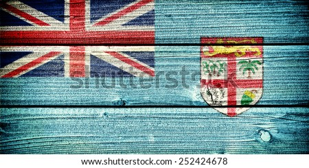 flag of Fiji  painted on old grungy wooden  background - stock photo