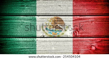 flag of Mexico painted on old grungy wooden  background - stock photo