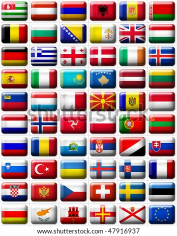 60 flags icons (buttons) of Europe 599x457 pixels including not recognised countries