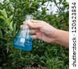 flask with blue solution hold by hand in orange orchard - stock photo