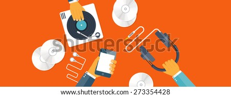 Flat background with hand and vinyl. Music. - stock photo