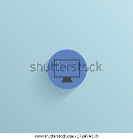 flat circle icon on blue background. - stock photo