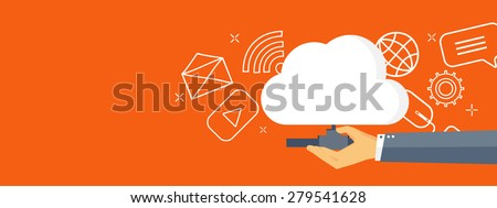 Flat cloud computing background. Data storage network technology. Multimedia content and web sites hosting. Memory and information transfer. - stock photo