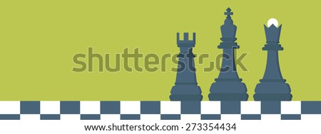 Flat header. Chess. Management and achievements. Smart solutions and business aims. Generating ideas. Business planning and strategy